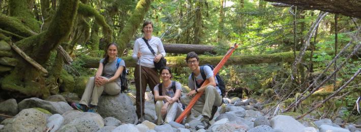 Summer 2015 Survey Crew on Boulder Creek, Upper McKenzie River